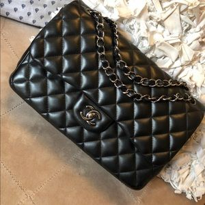 Chanel so black double flap jumbo gun metal